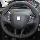 Buy XuJi ™ Black Genuine Leather Steering Wheel Cover Peugeot 208