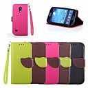 Leaf Buckle Pattern PU Leather Full Body Case with Card Slot And Stand for Samsung S4 Mini I9190N (Assorted Colors)