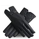 Outdoor Women's Autumn And Winter Fashion High Grade PU British Diamond Lattice Thickened Non Slip Wear Warm Gloves