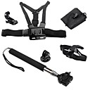 6 in 1 Gopro Chest Harness & Head Strap Mount & Monopod Tripod Adapter for Gopro 1 2 3 3+ Camera