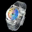 Women's Fantasy Sky Pattern Transparent Band Quartz Analog Wrist Watch
