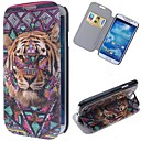 Tiger Pattern Leather Full Body Case with Stand and Card Slot for Samsung Galaxy S4 I9500