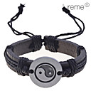 Lureme Chinese Tai JiCharm Leather Braided Bracelet