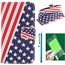 The American Flag Design PU Leather Full Body Case with Screen Protector, Stylus and Stand for Motorola moto E