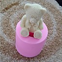 3D Bear with Bowknot Fondant Cake Chocolate Silicone Mold Cupcake Cake Decoration Tools,L6cm*W6cm*H5.6cm