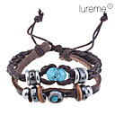 Lureme®Handmade Vintage Multi Strand Blue Amber Bead Charm Leather Wrap Bracelet