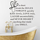 Wall Stickers Wall Decals, Life is Short English Words & Quotes PVC Wall Stickers