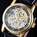 Buy Men's Watch Auto-Mechanical Gold Hollow Engraving Elegant PU Band Wrist Cool Unique Fashion