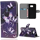 Purple Flower PU Leather Full Body Case with Card Slot for Samsung Galaxy S6 G920