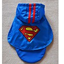 Blue Waterproof Cotton Superman Cape Rain Coat For Dogs