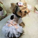Dog Dress White / Pink Summer Bowknot Wedding / Cosplay