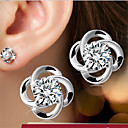Sterling Silver/Zircon Earring Stud Earrings Wedding/Party/Daily/Casual(1pair)