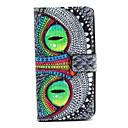 padrão de olho coruja capa de couro pu com fecho magnético e slot para cartão de arco-íris Wiko