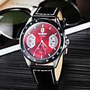 Calendrier Fonction Auto-mécanique en acier cadran rond PU bande de quartz analogique montre-bracelet pour hommes (Black)
