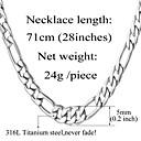 u7® nikada izblijediti muške 316L nehrđajućeg čelika zrnasto Figaro lanac ogrlicu za muškarce 5mm, 28inches (71cm)