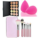 hot salg 15 farger kontur ansiktskrem makeup concealer palette + 7pcs rosa boks makeup børster satt kit + pulver puff