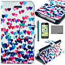 Buy COCO FUN® Colorful Heart Pattern PU Leather Full Body Case Film USB Cable Stylus iPhone 5C