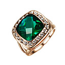 Buy T&C Women's Classic 18k Rose Gold Plated Big Shape Emerald Green Crystal Cubic Zirconia Romantic Party Rings