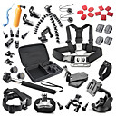 40 in 1 Outdoor Sports Accessories Kit for GoPro Hero 4s 4 3+ 3 2 1 Black Silver with Large Bag