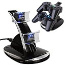 Dual USB Med Blå LED lading dokk Station Stand for PS4 Controller (Svart)