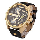 Men's Military Fashion Dual Time Zones Leather Strap Quartz Watch