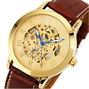 Men's Classic Skeleton Gold Dial Leather Band Automatic Self Wind Wrist Watch