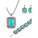 Buy Hot 2 Color Fashion Turquoise Square Pendant Necklace Flower Drop Earring Bracelet Jewelry Set