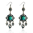 Buy European Style Retro Resin Gem Square Hollow Antique Silver Earrings