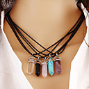 Quartz Necklaces Turquoise Pendant Necklace Female Amethyst Natural Stone Necklaces