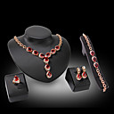 Buy Lucky Doll Diamond Vintage 18K Gold Plated Crystal Rhinestone Necklace & Earrings Bracelet Ring Party Jewelry Sets
