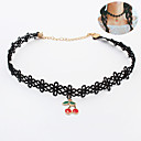 Buy European Style Retro Fashion Gothic Lace Cherry Choker Necklace