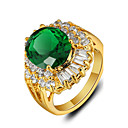 Buy 2016 New Luxurious 18K Gold Plated Green Rhinestone Engagement Rings Women
