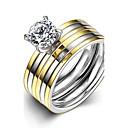 Buy Fashion Generous Couple's Stripes White Zircon Gold-Plated Titanium Steel Couple Rings(Golden)(1Set)