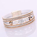 Buy Leather Bracelet Crystal Imitation Pearl Luxury Stone Multilayer Bohemian Hand-Hot Drilling Classical Shiny Friendship Christmas Gifts