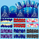 Buy 1Nail Art Christmas Water Transfer Tips Snowflake Blue Full Wraps Patterns Temporary Sticker Nails