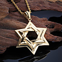 Buy Kalen New Stainless Steel 18K Dubai Gold Plated Six-Pointed Star Pendant Necklace Twisted Long Chain Men Gifts