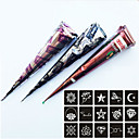 Buy 3 Pieces Henna Tattoo Kits Cones Red Brown Black Colors 15 Stencils Temporary Kit Body Art Mehandi Ink Paint