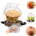Buy Foldable Steam Rinse Strain Fry French Chef Basket Magic Mesh Strainer Net Kitchen Cooking Tool