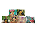 Buy Set 6 Frida Kahlo pattern Linen Pillowcase Sofa Home Decor Cushion Cover