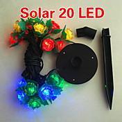 크리스마스를위한 태양 2m 20 LED 다채로운 빛의 꽃 디자인 문자열 램프