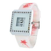 여성의 광장 다이아몬드 스타일의 실리콘 아날로그 석영 손목 시계 (흰색)