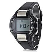 남성 스포츠 시계 LCD 맥박 측정기 달력 크로노그래프 방수 경보 디지털 밴드 블랙