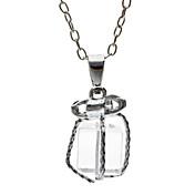 bowknot는 선물 상자 목걸이에서 투명한 흰색 K 작은 선물입니다