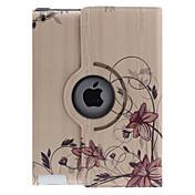 Kaartuvat Flower Vine Pattern 360 astetta kääntyvä PU Leather Full Body Case jalusta iPad 2/3/4