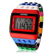 여성용 패션 시계 시계 나무 디지털 시계 디지털 LCD 달력 크로노그래프 경보 Plastic 밴드 캔디 멋진 멀티컬러