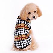 고양이 / 개 스웨터 브라운 강아지 의류 겨울 / 모든계절/가을 격자 무늬 / 체크 클래식 / 따뜻함 유지