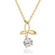 YUELI 여자의 백색 18K 금 지르콘 펜던트 포함. 목걸이 D0507