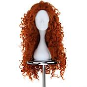 코스프레 가발 용감한 여자 이름 오렌지 중간 / 컬리 에니메이션 코스프레 가발 75 CM 열 저항 섬유 여성