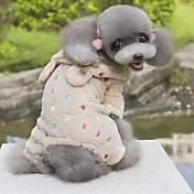 개 코스츔 후드 점프 수트 핑크 강아지 의류 겨울 모든계절/가을 동물 귀여운 코스프레