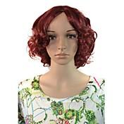 여성은 짧은 깊은 물결 모양의 머리 합성 가발 레드 와인 내열 코스프레
